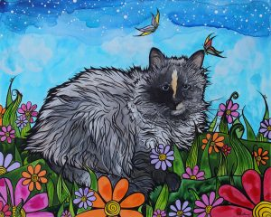 Long haired grey cat custom portrait by RobiniArt